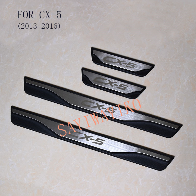 FIT For <font><b>Mazda</b></font> CX-5 <font><b>Cx5</b></font> 2013 2014 <font><b>2015</b></font> <font><b>2016</b></font> Door Sill Scuff Plate Welcome Pedal Stainless Steel Car Styling Car Accessories image