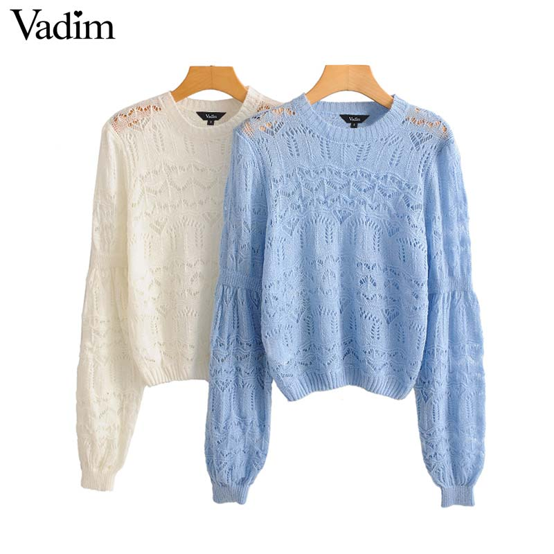 Vadim women elegant knitted solid top long sleeve stretchy white sky blue female casual pullovers hollow out chic tops HA473