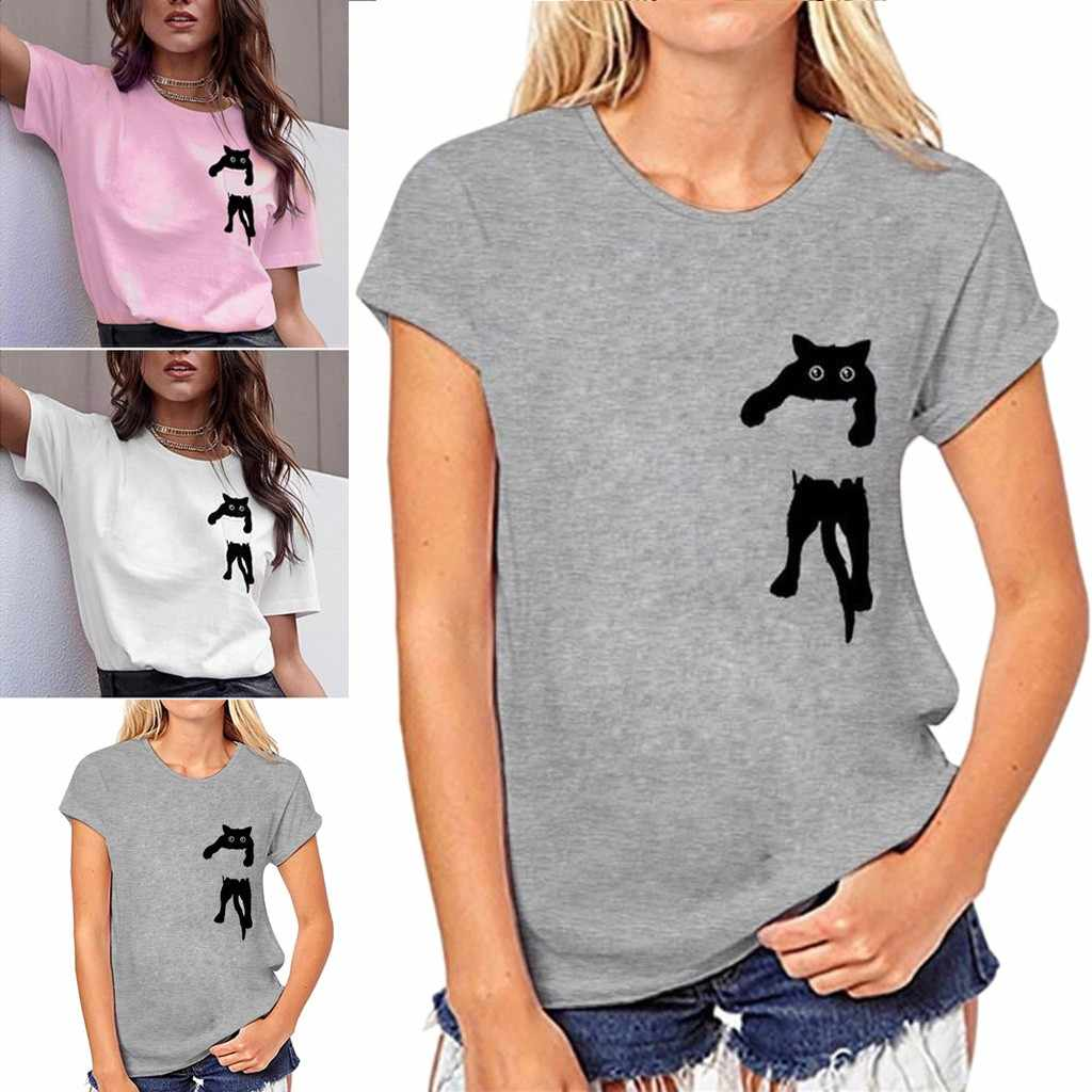 Tshirt Women Cat Print T-shirt Loose Short Sleeve Casual Simple Tops Poleras Camiseta Mujer Top Women Harajuku T Shirt Camisas