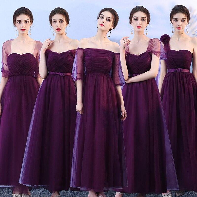 Purple Bridesmaid Dresses Tulle Plus Size Junior Women Ladies Bandage Wedding Party Dress Elegant  Long Simple Dress Sexy Prom