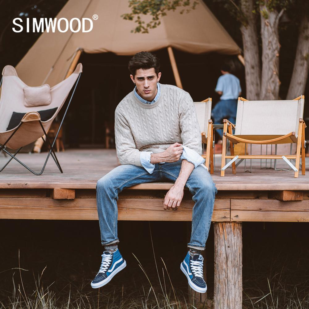 SIMWOOD 2021 Spring Winter New Cable Knit Sweater Men Wool Blend Warm Knitwear Classical Pullovers Knit Jumper SJ121220
