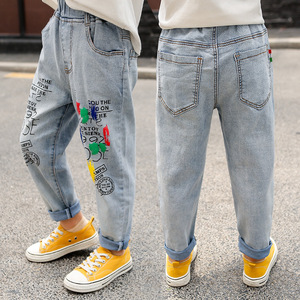 Image 2 - High Quality Color Paint Kids Jeans For Girls Boys Letter Jeans For Boys Girls Autumn Childrens Clothing Kids Jeans 3 13 Ages
