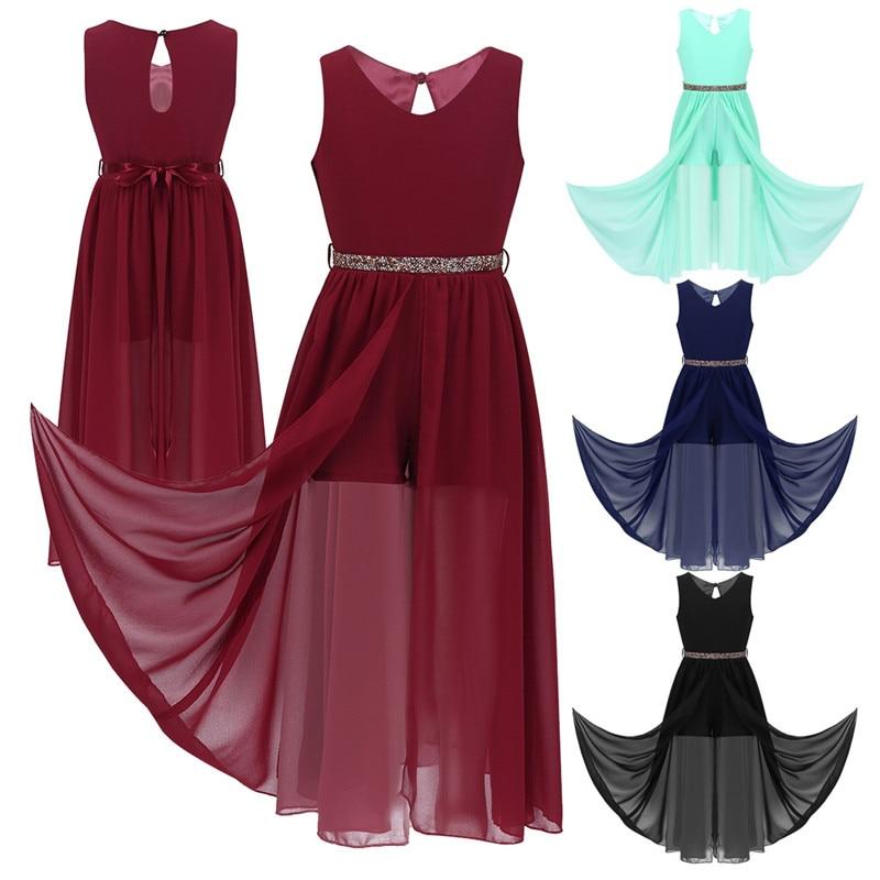 Image 5 - Floor Length Chiffon Flower Girls Dresses Princess Sleeveless V Neck Maxi Romper Dress with Rhinestone Belt For School DanceFlower Girl Dresses   -