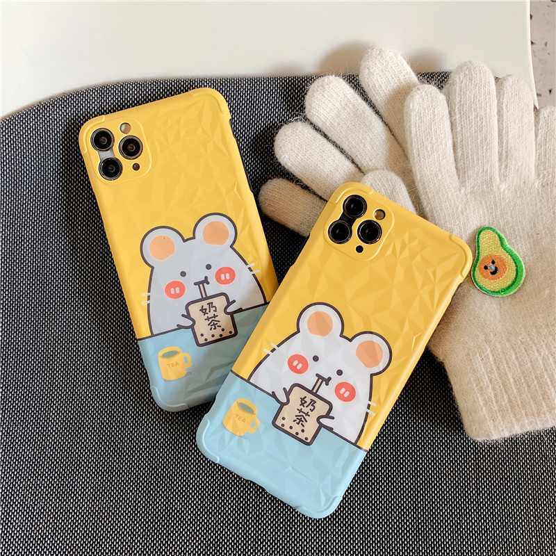 Cartoon Mouse Drinking Bubble Milk Tea Cute Cellphone Case Cover For Iphone 11 Pro Max 7 8 Plus X XR XS Max