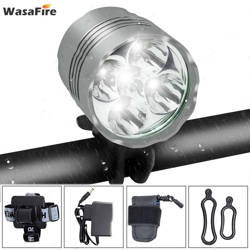 Wasafire <font><b>7000</b></font> <font><b>Lumen</b></font> farol Bike <font><b>Light</b></font> Lamp Headlamp Lantern 5*T6 LED <font><b>Bicycle</b></font> <font><b>Light</b></font> Headlight + 9600mAh Battery Pack for Outdoor image