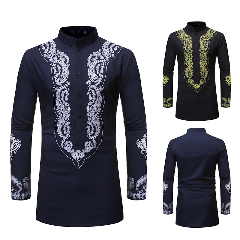 New Arrival Spring And Autumn Men's Long Sleeve Shirt 3D Printed Long Shirts Men Casual Shirt National Style Slim Fit
