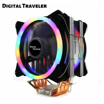 SR6 Master CPU Processor Cooler 6 Heatpipe 12cm Double Fans Cooling Fan Support Intel AMD For LGA775 1151 115X 1366 image