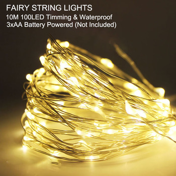 SPLEVISI 10M 100led Battery LED String Fairy Lights Christmas Holiday Party DIY Home Outdoor Decorative With Timming