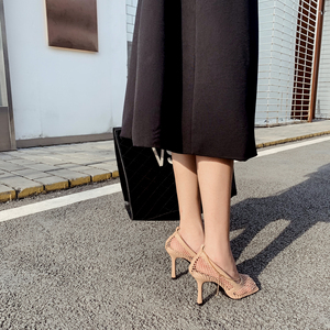 Image 5 - Hot Sales Square Toe Thin High Heels Women Sandals Slip On Chain Decoration Summer Sexy Party Sandals Pumps Shallow Sandals