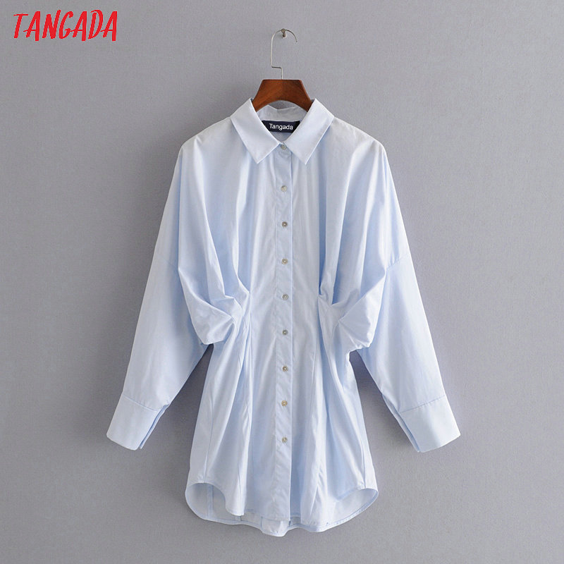 Tangada Women Oversized Blue Pleated Cotton Shirts Long Sleeve Elegant Office Ladies Work Wear Blouses 3H241