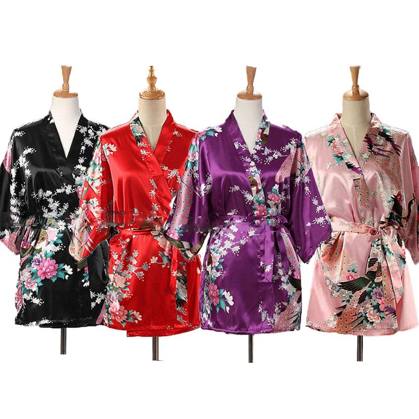 Short Style Woman Sexy Japanese Dress Traditional Kimono Yukata Night Gown Sleepwear Lady Bathing Robe Silk Satin Dress