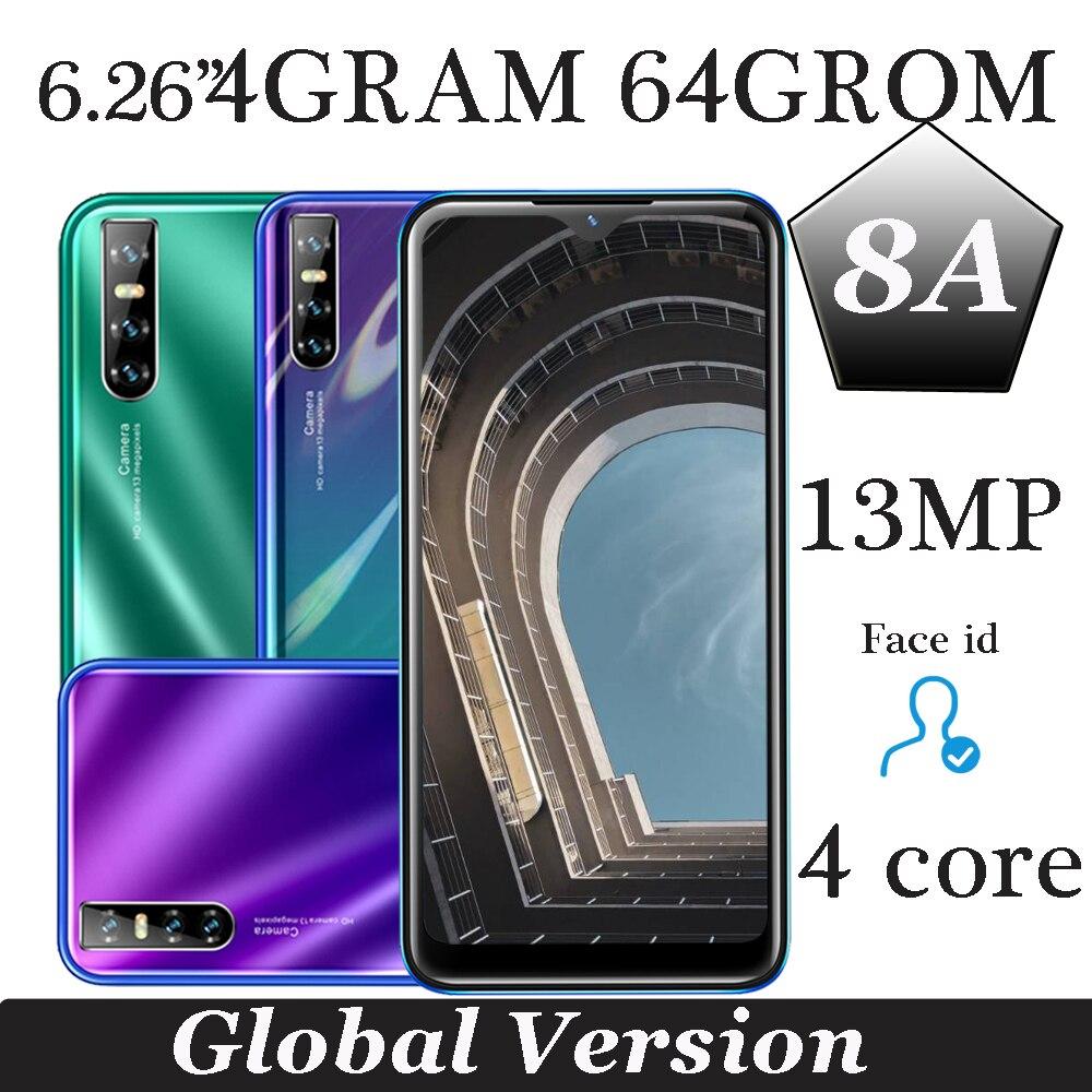 Смартфон Water drop, 64 Гб ПЗУ, 8A, Android, четырехъядерный, IPS, камера 13 МП, HD, 6,26 дюйма, 19:9, 4 Гб ОЗУ, идентификация лица, разблокирован
