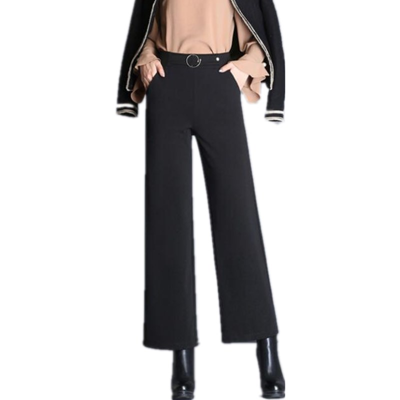 New 2019 Women Autumn   Wide     Leg     Pants   Fashion Female   Pants   High Waist Black Casual Professional Trousers   Pants   Women J411