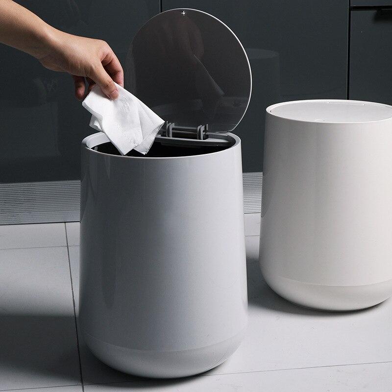 Séparation sèche et humide grande poubelle ronde type cuisine salon salle de bains double poubelle ronde WF813146
