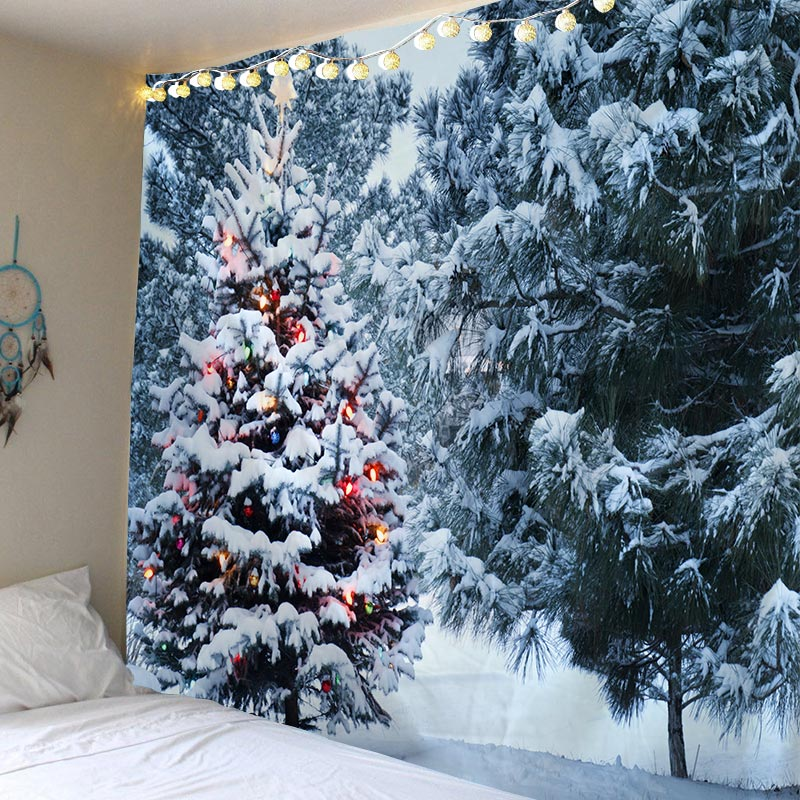 Tapestry Christmas Wall Hanging Christmas Snow Home Deco Christmas Tree Print Tapestries Large Size Free Shipping