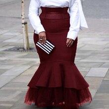 Осенне-зимние женские длинные юбки, винтажные бордовые вечерние африканские женские юбки с высокой талией, сетчатые Лоскутные Юбки Русалки размера плюс