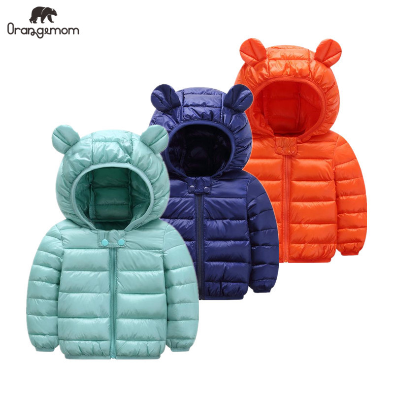 Cute 1 5y baby girls jacket kids boys Light down coats with ear hoodie spring girl