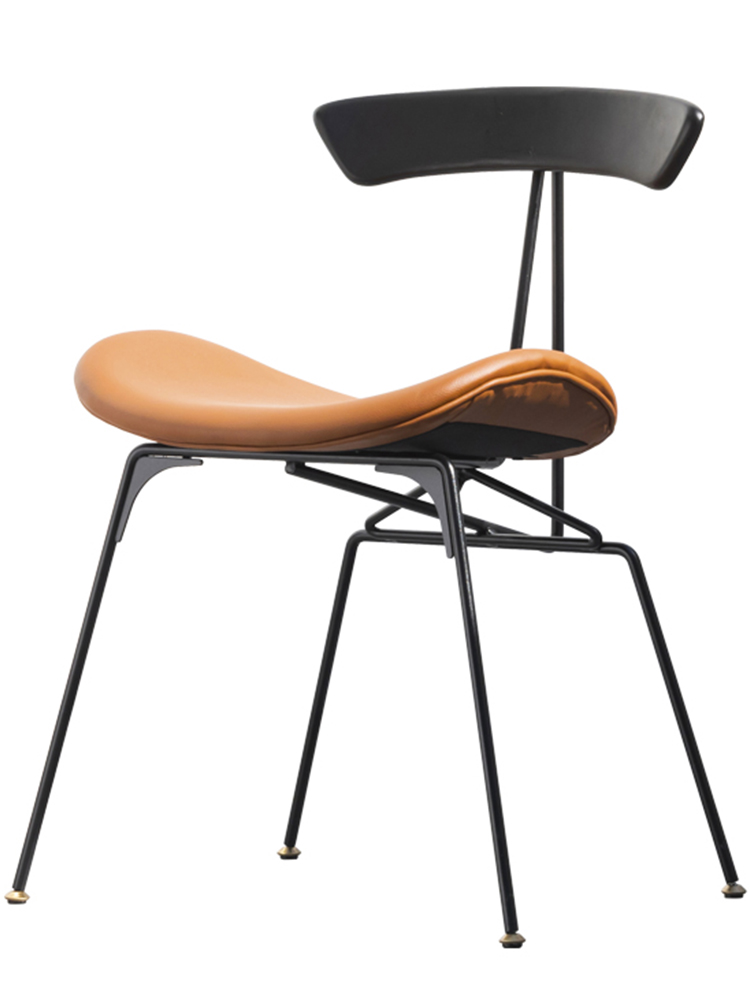Industrial Style Dining Chair Nordic Light Luxury Retro Home Wrought Iron Chair Designer Chair Simple Solid Wood Back