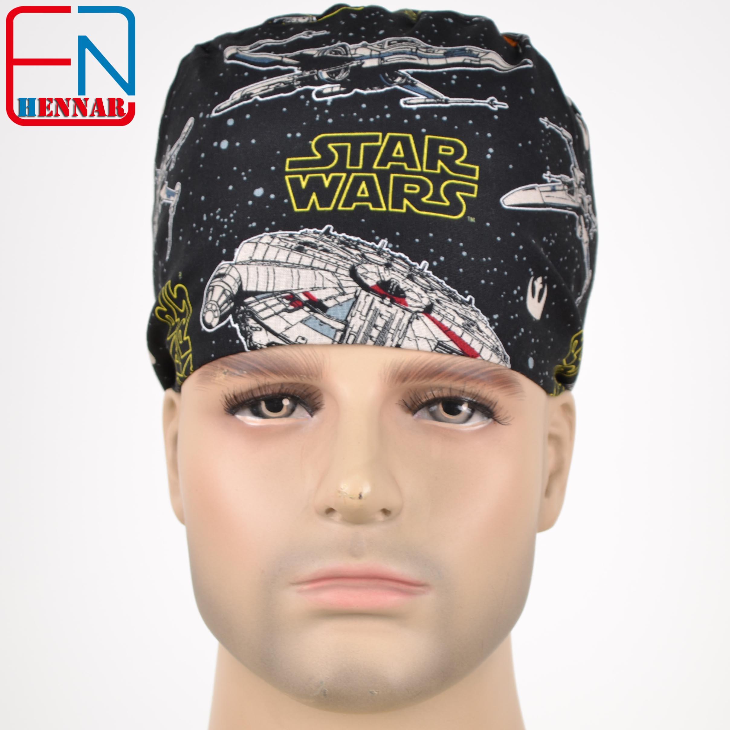 Hennar Men's Scrub Caps , 100% Cotton Adjustable Elastic Bands Surgical Scrub Caps Medical Hospital Doctor Headwear Cap ,