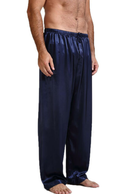 Size S-XL Men Silk Satin Pyjamas Nightwear Pants Sleep Bottoms Bath Sleepwear Long Trousers