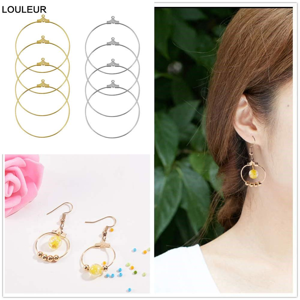 30pcs/lot 30-60mm KC Gold Copper Hoops Earrings Big Circle Ear Wire Hoops Earrings Wires For DIY Jewelry Making Supplies