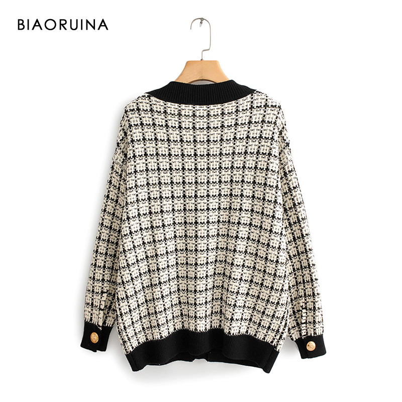 Image 2 - BIAORUINA Womens Fashion V neck Chic Single Breasted Knit  Cardigans Female Thick Keep Warm Swallow Gird Plaid Sweater  OuterwearCardigans