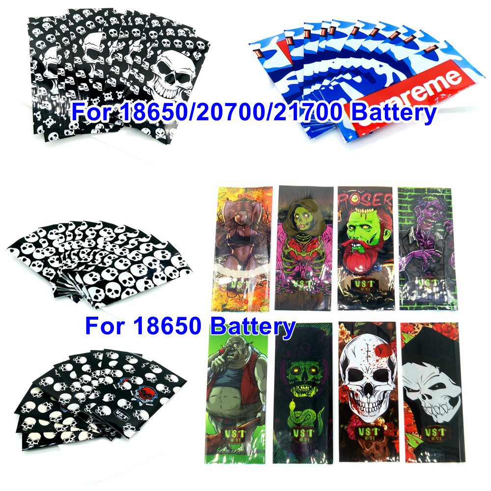 10pcs 18650 20700 21700 Battery Wraps Sticker Case Skin Battery Sleeve Cover Skeleton Skull Vape Battery Accessories Insulator