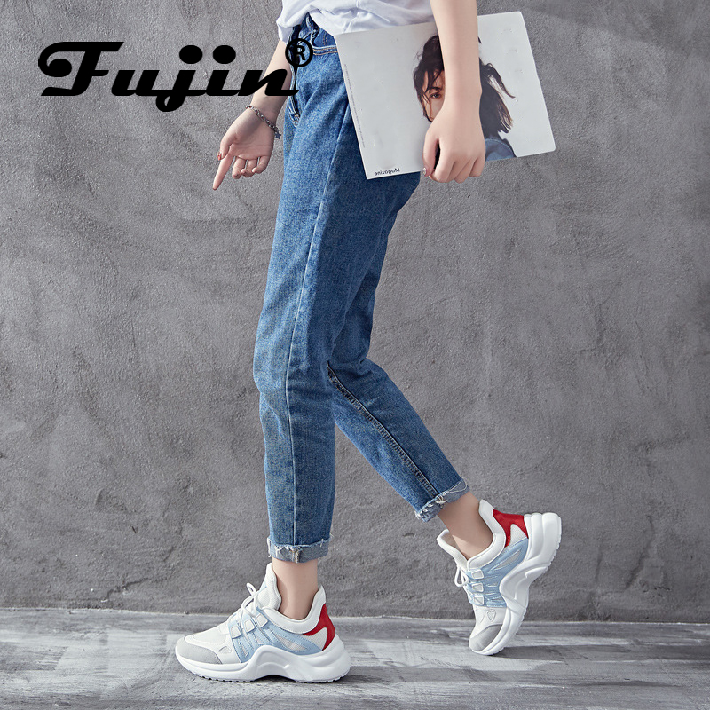 Fujin Sneakers Women 2020 Breathable Mesh Casual Shoes Female Fashion Sneaker Lace Up High Leisure Women Vulcanize Shoe Platform