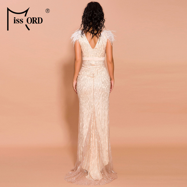 Missord 2019 Women Sexy Deep V Off Shoulder Glitter Dresses Female High Split Elegant Feather Dress FT19565 3