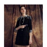 Brand new high quality women's three quarter sleeves tweed dress Spring Autumn fashion Black A line dress B501