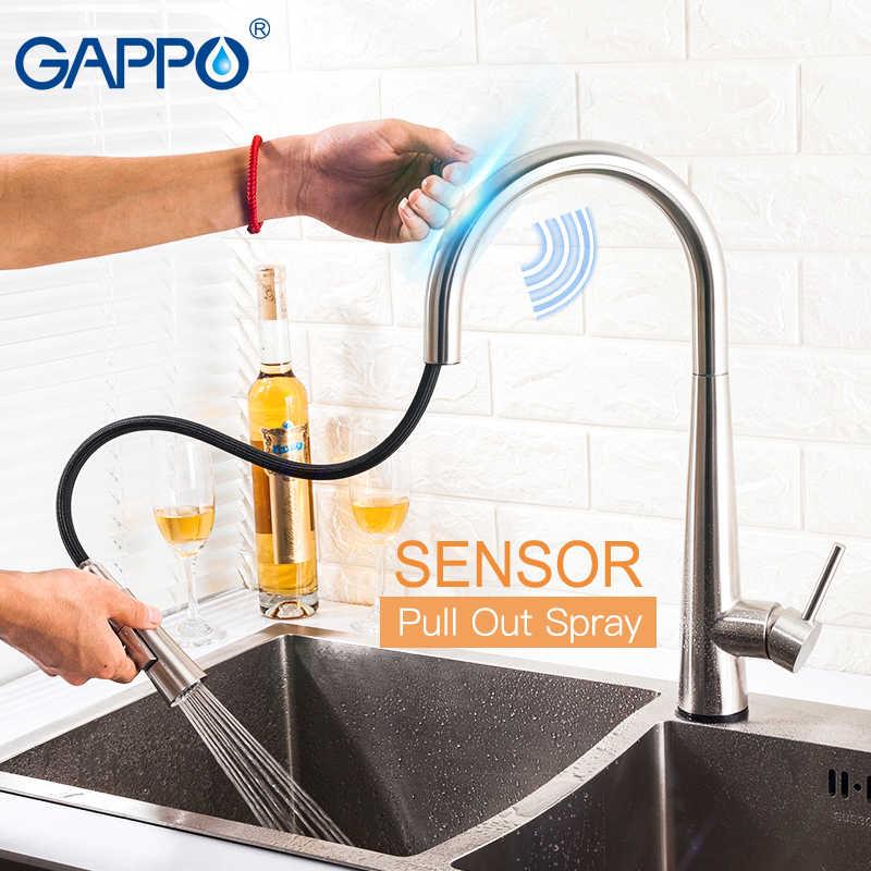 GAPPO Smart Sensor Kran Dapur Menarik Kontrol Sentuh Stainless Steel Dapur Mixer Sentuh Kran untuk Wastafel Dapur Keran