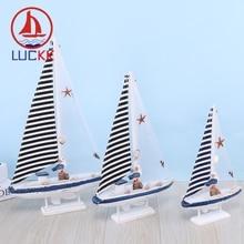 LUCKK Mediterranean Style Wooden Sailboat Model Home Decor HandCrafts Shell Marine Souvenir Nautical Gifts Miniature Figurines