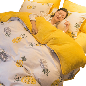Image 1 - 1 Pc Winter Yellow Pineapple Duvet Cover/ Quilt Cover/Comforter Cover A Side Cotton B Side Fleece Fabric Bedding Quilt