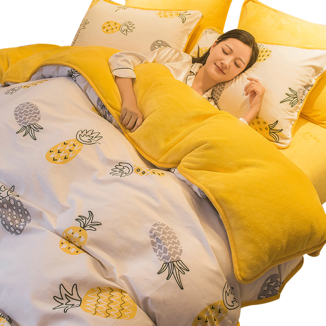 1 Pc Winter Yellow Pineapple Duvet Cover/ Quilt Cover/Comforter Cover A Side Cotton B Side Fleece Fabric Bedding Quilt