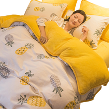 1 adet kış sarı ananas nevresim/nevresim/yorgan kapağı bir tarafı pamuk B tarafı polar kumaş yatak yorgan