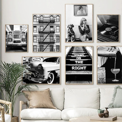 Vintage Wall Art Canvas Painting Classic Car Bus Woman Record Dog Nordic Posters And Prints Wall Pictures For Living Room Decor