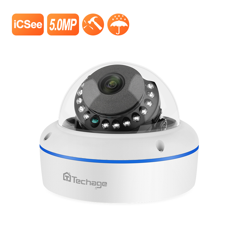 Techage Super HD 5MP 4MP 2MP POE IP Camera  Vandalproof Indoor Dome CCTV Camera Microphone P2P Video Surveillance ONVIF 48V PoE