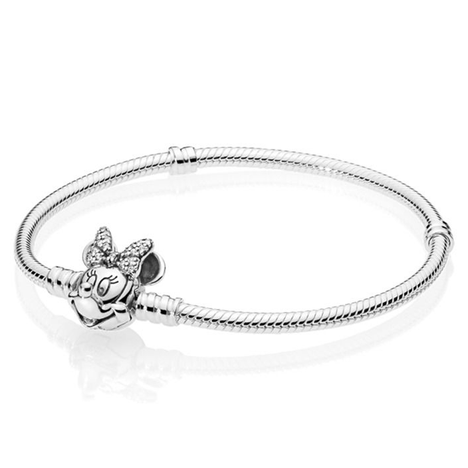 Authentic 925 Sterling Silver Shimmering Minnie Portrait Moments Clasp With Crystal Bracelet Bangle fit Lady Bead Jewelry