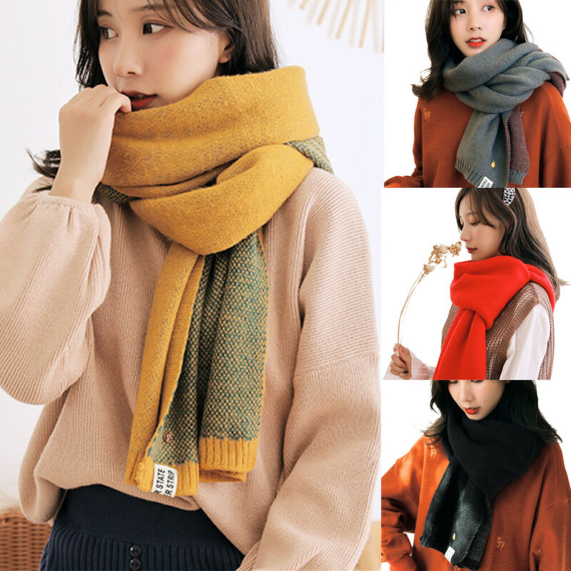 2020 Women Solid Cashmere Scarves Lady Winter Thicken Warm Soft Shawls Wraps Pink Black Female Knitted Wool Long Scarf