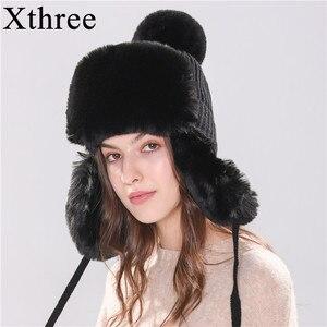 Image 2 - Xthree chapeaux dhiver pour femmes, chapeau chaud avec rabat doreille, couvre fourreau en fausse fourrure, avec Pom Pom
