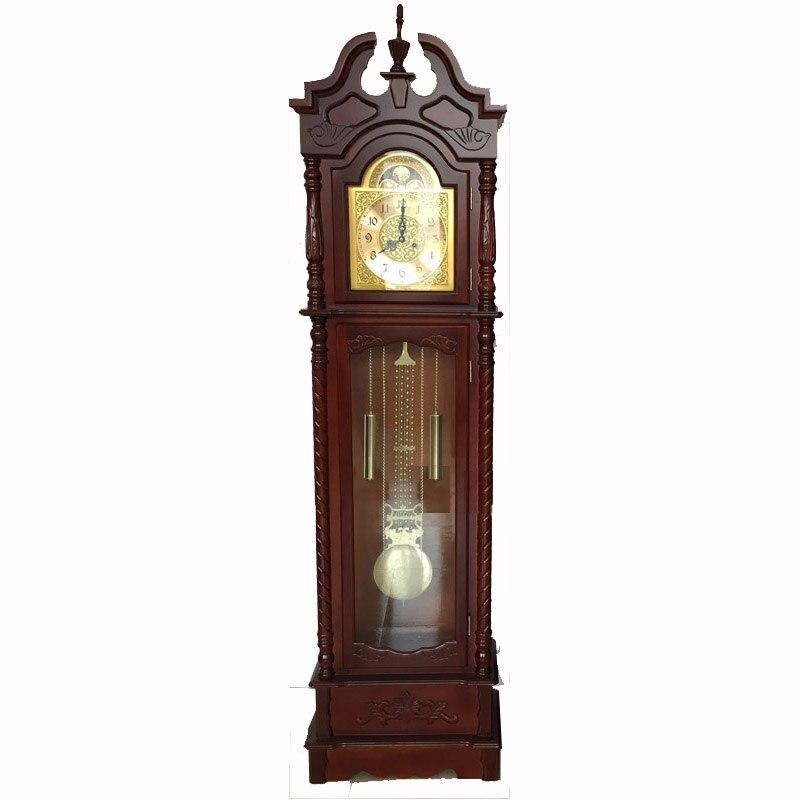 Antique Copper Pendulum Wooden Grandfather Floor Standing Clock