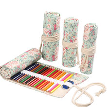 Kawaii Flower Pencil Case Canvas 12/24/36/48/72 Holes Roll School Penal Pencilcase for Girls Boys Cute Pen Case Stationery Pouch(China)