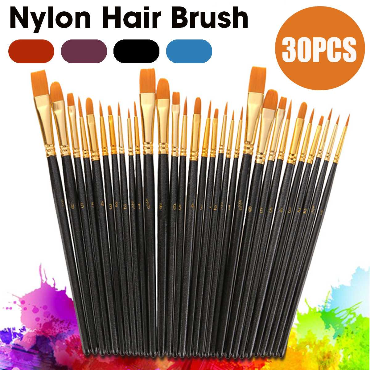 Paint Brushes Nylon Wooden Handle Watercolor Paint Brush Pen Set Learning DIY Acrylic Painting Art Paint Brushes Supplies 30PCS