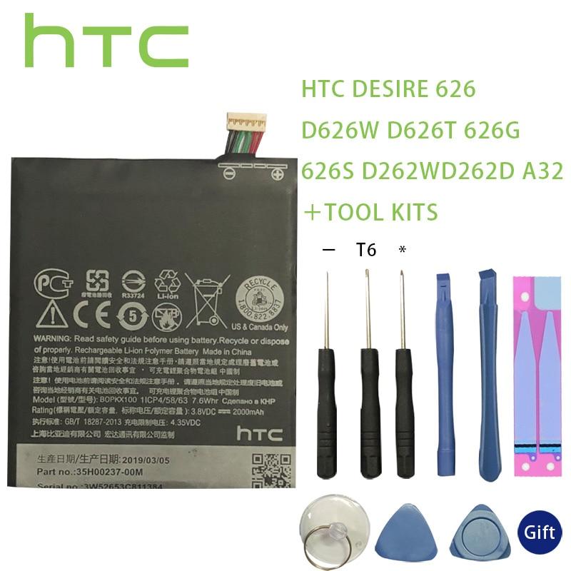 HTC 100% Original BOPKX100 Battery For HTC Desire 626 D626W D626T 626G 626S D262W D262D A32 Cellphone Bateria tools +sticker