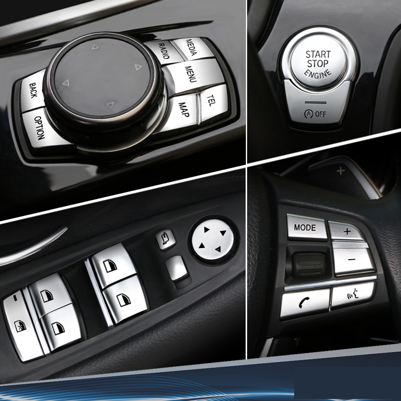 Car Interior <font><b>Accessories</b></font> ABS Chrome Button Cover Stickers For <font><b>BMW</b></font> F10 F07 F06 F12 F13 <font><b>F01</b></font> F02 F20 F30 F32 Car Styling image