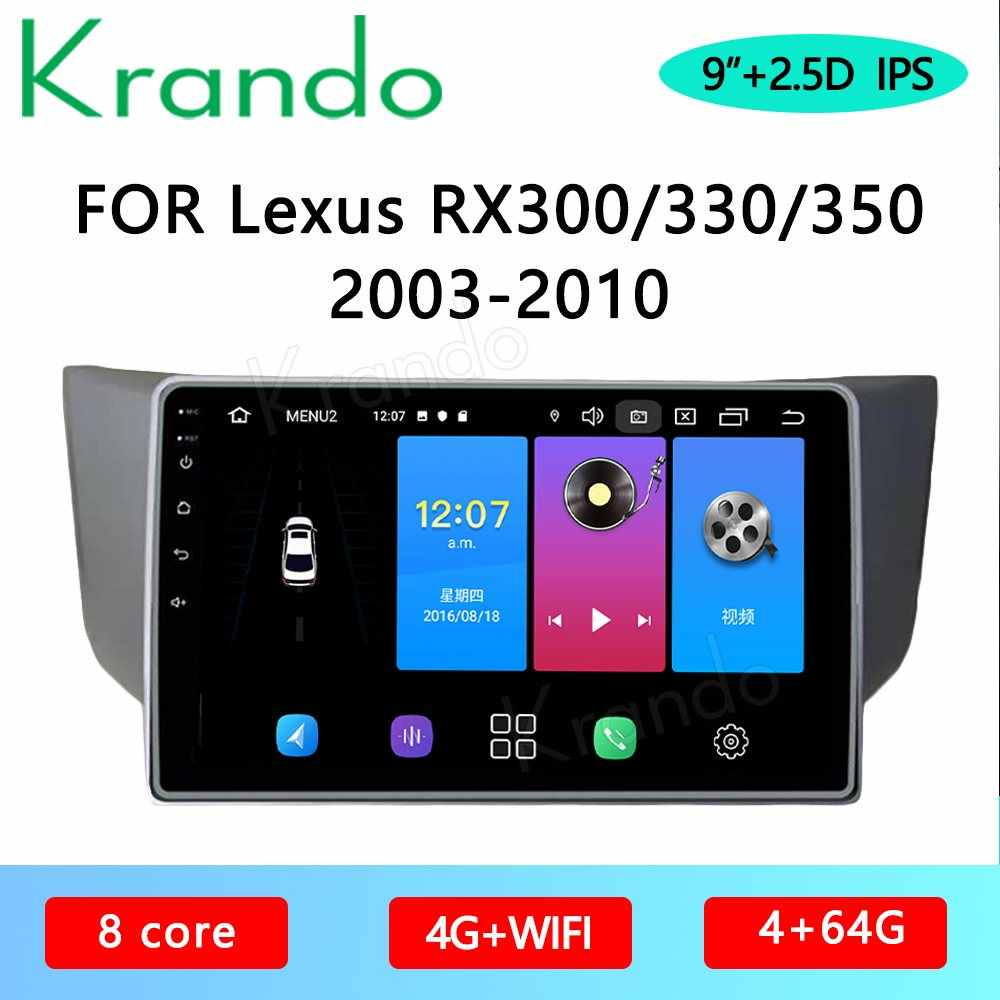 "Krando Android 10.0 9 ""Ips Full Touch Auto Multimedia Radio Voor RX300 RX330 RX350 RX400 2003-2010 Audio dsp Wifi Navi Carplay"