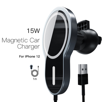 15W Magnetic Wireless Car Charger Mount For Iphone 12 Pro Max Fast Charging Wireless Charger Car Phone Holder image