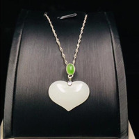 925 Silver Certificate Natural White jade heart shape pendant simple fine jewelry Zircon for women party Gift Box Necklace