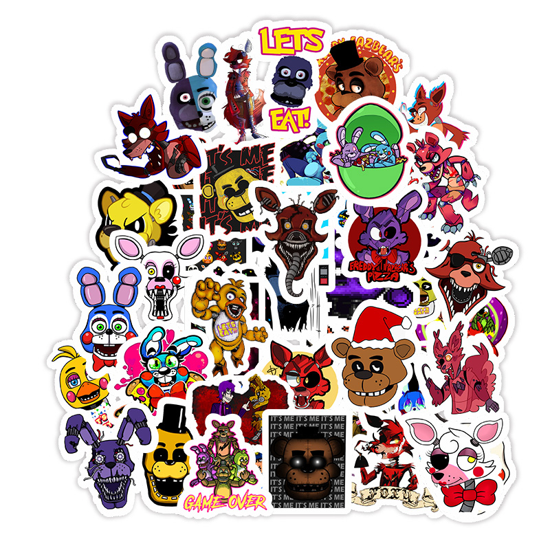 50Pcs Five Nights At Freddy Decal Cartoon Sticker For Car Laptop Bicycle Skateboard Backpack Stickers Toy Stickers Gifts F5