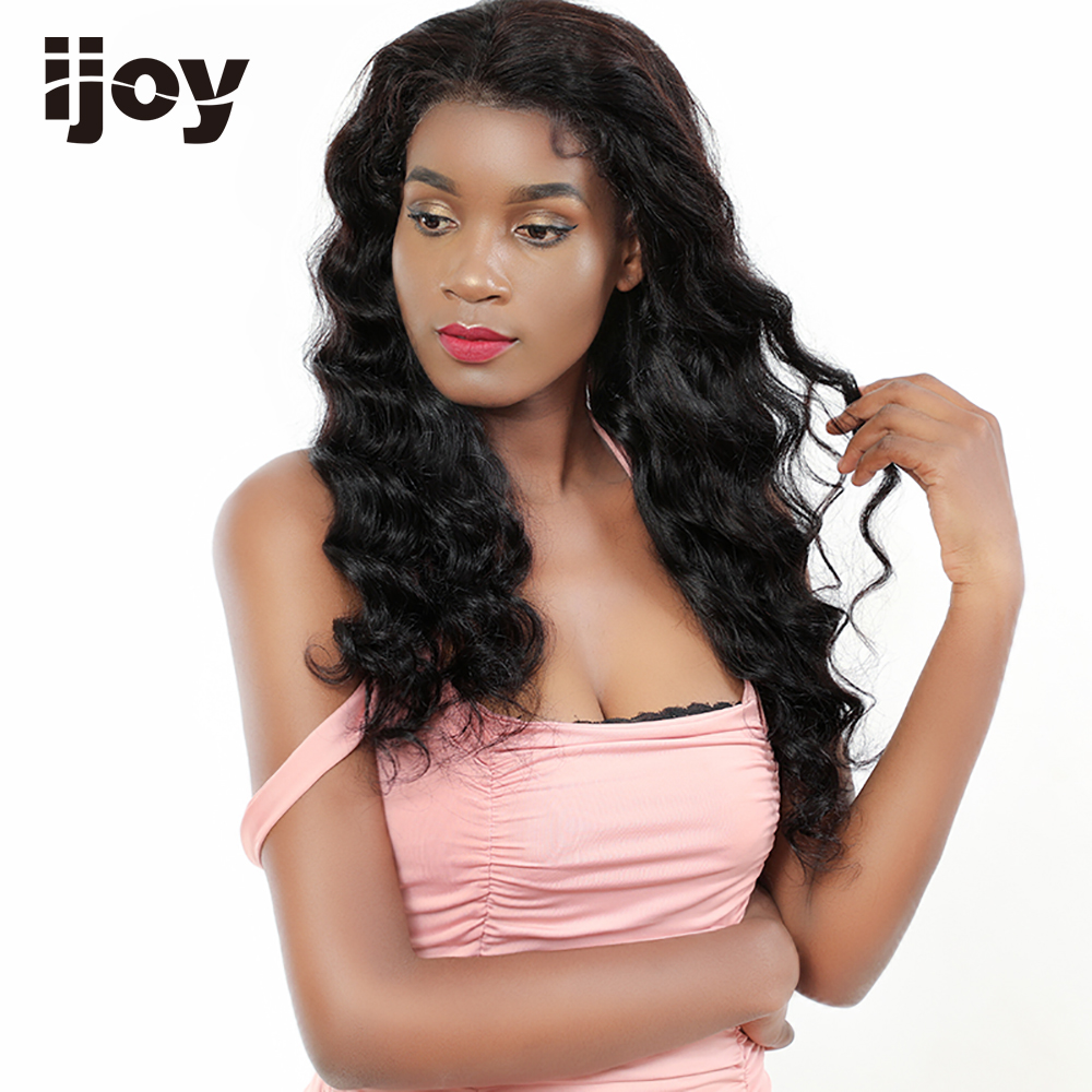 "Deep Wave Wig Human Hair Wigs 4x13 Lace Front Wig Brazilian Hair Non-Remy Wigs Natural Black 12""-22"" Real Length Wig IJOY"